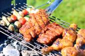 Delicious griller meat with vegetables — Stock Photo