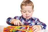 Boy with a xylophone — Stock Photo