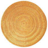 Woven Rattan in Round Pattern Isolated on White Background with Clipping Path. — Stock Photo