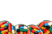 Colorful of oral medications Dish Isolated with Clopping Path. — Stock Photo