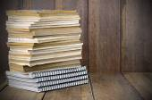 Stack of Old Books on Wood Background. — Stock Photo