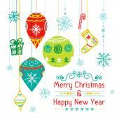 Christmas card with christmas balls, vector — Stock Vector