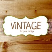 Vintage frame with wood texture — Vector de stock