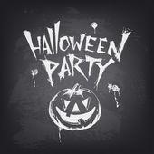 Halloween text design with pumpkin on chalkboard. — Stock Vector