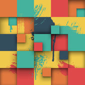 Abstract Texture with Squares and Paint Splashes. — Stockvektor
