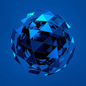 Abstract 3d rendering of low poly blue sphere with chaotic structure. — Stock Photo