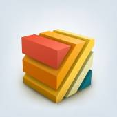 Vector Illustration of abstract 3d cube. — Stock Vector