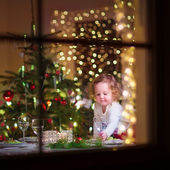 Little girl at Christmas dinner — Stock Photo