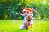 Kids playing cowboy — Stock Photo