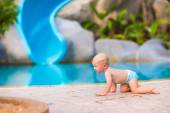Little baby at swimming pool — Foto de Stock