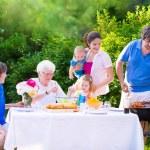 Big happy family enjoying bbq grill in the garden — Stock Photo #69958217
