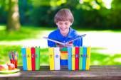 School boy reading a book — Stock Photo