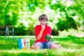Child in school yard — Stock Photo