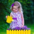 Little girl working in the garden watering flowers — Stock Photo #74647681