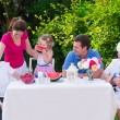 Big family having lunch outdoors — Stock Photo #75066519