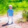 Little boy hiking in a forest — Stock Photo #75869813