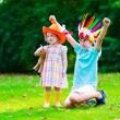 Kids playing in Halloween costumes — Stock Photo #76404193