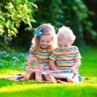 Two kids reading in summer garden — ストック写真 #78964138