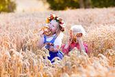 子供たちの小麦畑でババリア地方の衣装 — ストック写真