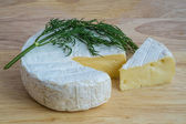 Camembert cheese with dill — Stock Photo
