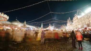 Red Square on Christmas night. Moscow.Time-Laps — Stock Video