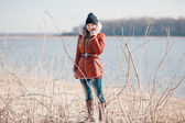 Beautiful lady in the drained reservoir — Stock Photo