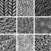 Set of nine seamless patterns — Stock Vector