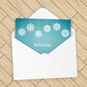 Merry christmas letter with snowflakes — Stock Vector
