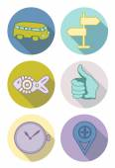 Round icons pastel — Stock Vector