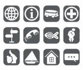 Icons grey travel  set — Stock Vector