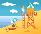 Beach  male rescuer on a tower — Stock Vector
