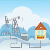 Oil and gas processing plant and house — Stock Vector