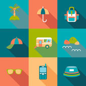 Travel flat coloured Icons with shadow — Stock Vector
