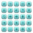 Set of blue stone square buttons, vector game icons — Stock Vector #62620953