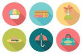 Round travel flat colour Icons with shadow — Stock Vector