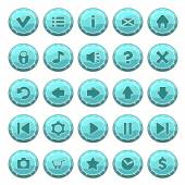 Set of ice round buttons, vector game icons — Stock Vector