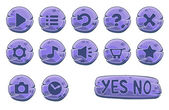 Set of purple stone round buttons, vector game icons — Stock Vector