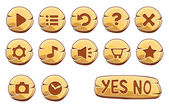 Set of gold round buttons, vector game icons — Stock Vector