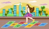 Little girl on playground, playing hopscotch game — Stock Vector