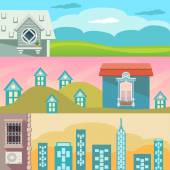 Cartoon landscape with houses, windows, clouds and sky — Stock Vector