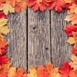 Yellow wet autumn leaves on the background a dark old wood — Stock Photo #54169641