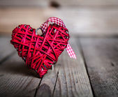 Red heart on a wooden background. Valentine's Day, Day of the enamored — Stock Photo