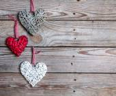 Love hearts on wooden texture background, valentines day card concept — Stock Photo