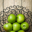 Fruit. apples in a bowl on wooden background — Stock Photo #75913279
