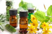 Essential oils with marigold and leaves — Stock Photo