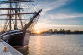 Sailing  Ship on Sunrise. — Stock Photo