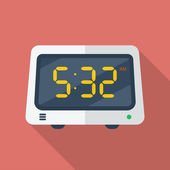 Electronic alarm clock icon. Modern Flat style with a long shadow — Vetorial Stock