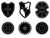 Icon set of ancient, medieval shield — Stock Vector