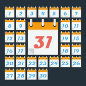 Calendar with days of month. Flat style — Vector de stock