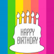 Vector Happy birthday card with white cake silhouette on rainbow striped background — Stock Vector #68978631